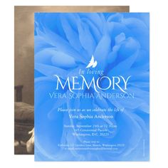 Shop Memorial service blue rose funeral invitations created by Mylittleeden. Personalize it with photos & text or purchase as is!