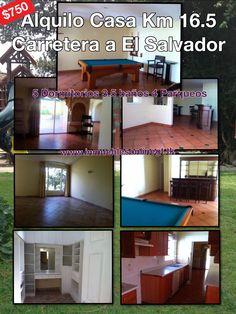 Alquilo Casa Km 16.5 Carretera a El Salvador 5 dormitorios 3.5 Baños 4 Parqueos salon de juegos con bar y billar, incluye lamparas y cortinas, condominio exclusivo, ambientes amplios Renta $750 mas mantenimiento Q650 inc. agua Visitas 42221612 42387726 anaurrutia@live.com www.inmueblesonlinegt.tk
