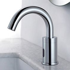 Contemporary Centerset Touch/Touchless with  Ceramic Valve Hands free One Hole for  Chrome , Bathroom Sink Faucet – USD $ 89.99
