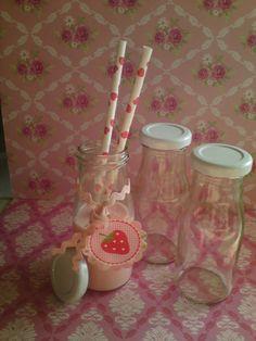 3 x MINI Glas Milchflasche incl Deckel 150ml  von Casa-di-Sue auf DaWanda.com