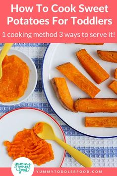 This is one easy cooking method for serving 3 different types of sweet potatoes for babies and toddlers. Great for busy moms! Cook your sweet potatoes all together and serve wedges, mashed sweet potato, a puree, or all 3! Purees can also be used to make smoothies and much more. Whether you're starting your baby with the Baby Led Weaning style of feeding or more traditional purees, this one cooking method will work beautifully. Try it now. Sweet Potatoes For Baby, Sweet Potato Baby Food, Sweet Potato Wedges, Cooking Sweet Potatoes, Mashed Sweet Potatoes, Baby Puree Recipes, Veggie Recipes, Baby Food Recipes, Toddler Meals