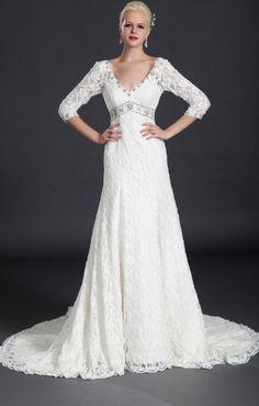 Long sleeves lace wedding dress Autumn/winter by Lemonweddingdress, $259.00