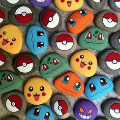 Para un cumpleaños especial - Pokemon Ideen Pebble Painting, Pebble Art, Stone Painting, Diy Painting, Garden Painting, Painting Flowers, Kids Crafts, Craft Projects, Diy And Crafts