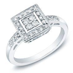 Auriya 10k Gold 1/3ct TDW Diamond Engagement Ring (K-L, I2-I3) (Yellow Gold - Size 4), Women's