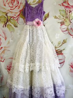 lavender dip dye tiered lace boho wedding dress by mermaid miss kristin 1970s Wedding Dress, V Neck Wedding Dress, Boho Wedding Dress, Wedding Dresses, Boho Outfits, Classy Outfits, Romantic Outfit, Plus Size Wedding, Western Dresses