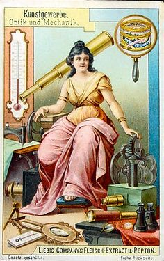 One of a set of probably six trade cards, published by Liebig meat extract, depicting 'Kunstgewerbe' (Applied Art). This one with the subject 'Optik und Mechanik' shows a beautiful lady surrounded by optical and mechanical instruments including two magic lanterns.  http://luikerwaal.com/tradecard3_uk.htm