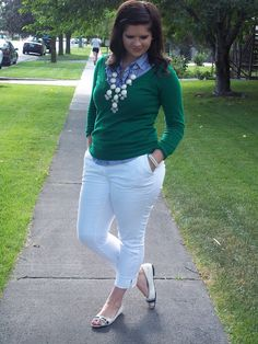 emerald green sweater + white capris + open toed flats