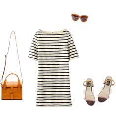 Polyvore  // striped dress outfit