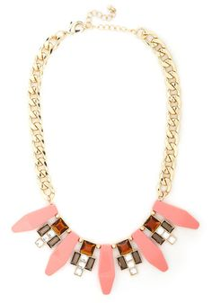 What a Treat Necklace - Coral, Gold, Solid, Rhinestones, Vintage Inspired, 30s, Multi, Statement, Prom