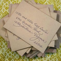 Fancy Script on Kraft paper envelopes {Calligraphy by Carrie}