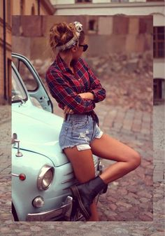 $50 Cute Rustic Plaid Checked Red And Blue Shirt With Blue Denim Jean Shorts Summer Outfit Trends