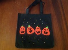 Pumpkin black trick or treat or tote bag by Qoot2Boot on Etsy