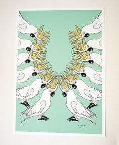 Hey, I found this really awesome Etsy listing at https://www.etsy.com/listing/124044117/cockatoo-parade-large-digital-art-print