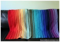 Basics :: Easy Rainbow Blanket ~ casual tutorial by CraftyMummy, perfect for beginners.  Start with any size foundation chain, entire blanket is done in HDC.  She used Moda Vera 8-ply wool, weight class 3 (DK, or double knit), with hook size G.  If you chose a typical weight class 4 yarn (worsted), such as Red Heart Super Saver, you'd use an 'I' hook as indicated on the yarn wrapper.  #crochet #afghan #throw