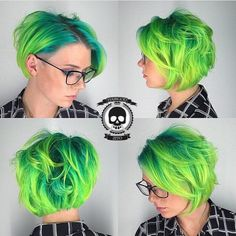 I've never really wanted green hair, but I LOVE shots like this. Funky Hairstyles, Pretty Hairstyles, Pelo Pixie, Coloured Hair, Bright Hair, Cool Hair Color, Hair Colors, Hair Images, Mermaid Hair