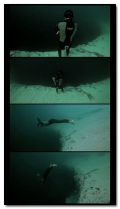 World free diving champion Guillaume Nery stood on the edge of this 600 foot ocean bottom sinkhole without any breathing apparatus, ignored every fiber of his being telling him he was perched on the mouth of a sarlacc and decided he wanted to touch the drain in the ocean's deep end -- Because fuck air.