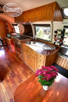 Airstream 3 Seating and Kitchen Area