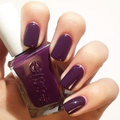 'turn n pose' in this dramatic deep plum nail polish from essie gel couture
