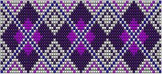 Wicked Artsy: Bead loom patterns: Purple diamonds and green squares  #heartbeadwork #loombeading