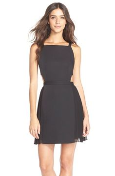 BCBGMAXAZRIA 'Brielle' Backless Satin Fit & Flare Dress available at #Nordstrom