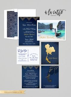 Destination wedding invitation Thailand Phuket Asia Thai Wedding Blue Gold…