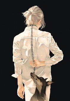 Re°, Dog, Dark Background, Arms Behind Back, Collar (Animal), Black Background