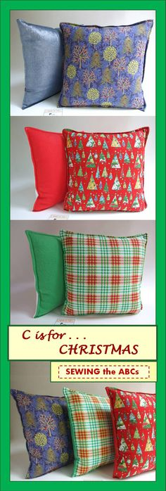 Christmas Pillow Covers by SEWING the ABCs on Etsy.  Add some NEW pillows to your Christmas Decor for 2015.  Check out the available Embroidered Christmas Pillows  too!  Sign Up for Email Notifications at www.sewingtheabcs.com.   #ChristmasPillows #ChristmasDecor #ChristmasDecorations #HolidayPillows #ThrowPillowCover #RedPillows #BluePillows #GreenPillows #SEWINGtheABCs