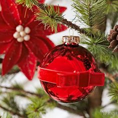 Add instant sophistication to plain ball ornaments; all you need is ribbon and glue! To make, hot-glue a velvet ribbon around the middle of a ball ornament, overlapping the ribbon ends slightly. Then simply tie a length of ribbon into a bow (using one of the techniques found below!) and hot-glue the finished bow to the ornament where the ribbon ends meet.   /