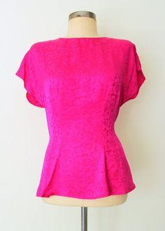 ROSE ETCHED ★ Bright Pink Silk Jacquard Peplum Blouse: Lolavintage.com