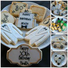 """Great Gatsby / Birthday,"" via Cookie Connection Great Gatsby Party, Gatsby Theme, Gatsby Wedding, Mother's Day Cookies, Cute Cookies, Sugar Cookies, Happy Birthday Cookie, Birthday Cookies, Gatsby Cookies"