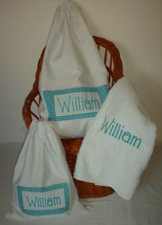 Personalized  Laundry Bags & Towel Gift Set for Baby Boys. $140.00, via Etsy.