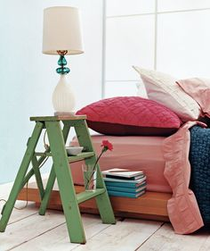 Use a Stepladder as a Bedside Table