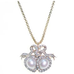 Victorian Natural Pearl and Diamond Double Heart Pendant/Brooch, circa 1880