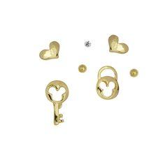 #formultiplepiercedears #earringset #keyandlock earrings #cubiczirconia  #cuteearrings #dainty  yourbasicjewelry.com Place Cards, Place Card Holders, Earrings, Stuff To Buy, Collection, Ear Rings, Beaded Earrings Native, Hoop Earrings