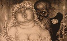 The Wedding Couple - Nikolai Kalmakov Creepy Paintings, Lucas Cranach, Classical Mythology, Monster Drawing, John Singer Sargent, Toad, Ancient Art, Dark Art, Wedding Couples