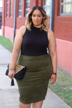 #plussizeandcurvyfashion ♡ #beauticurve - This outfit is from Charlotte Russe+ They have really been keeping me cute lately! I love this green faux – suede skirt (so hot) and this high neck bodysuit is perfect for this type look. It keeps everything smooth and won't be rolling up all night. Heels – Nasty Gal/Bag – Vince Camuto