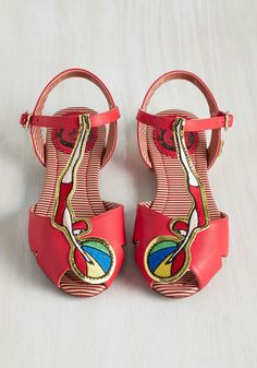High-Fashion Dive Sandal. Youll be happy you took the plunge on these red sandals by London-based brand Miss L Fire! #red #modcloth