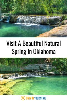 This beautiful natural spring in Oklahoma is perfect for summer fun. A stunning blue swimming hole with a magical waterfall, you won't want to miss this cool, clear creek. It's family-friendly and even said to have healing properties. Rv Travel, Summer Travel, Summer Fun, Travel Destinations, Blue Hole Oklahoma, Spring Nature, Swimming Holes, Hiking Trails, Road Trips