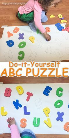 DIY ABC puzzle using foam letters Toddler Learning Activities, Preschool Learning Activities, Family Activities, Abc Learning, 3 Year Old Activities, Indoor Activities, Learning Spanish, Teaching Resources, Alphabet For Toddlers