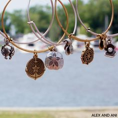 ALEX AND ANI SEASIDE CHARM BANGLES! CRAB, ANCHOR, SAND DOLLAR, TAKE THE WHEEL, AND OYSTER!