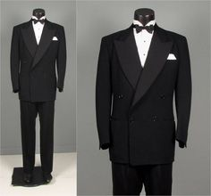 Vintage 1950s Mens Tuxedo Suit  Black Wool 4 x 1 by jauntyrooster