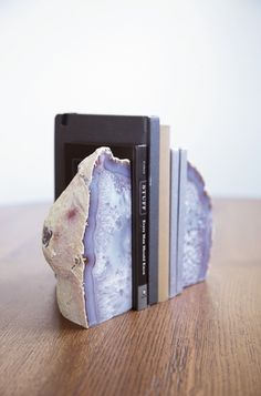 Rejuvenation Home Office: agate bookends   #bookends #decor  #agate