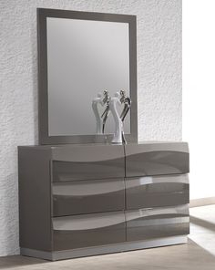 Chintaly Imports Delhi 6 Drawer Dresser with Mirror Grey Dresser, 9 Drawer Dresser, Modern Dresser, Double Dresser, Dresser With Mirror, Corner Dresser, Furniture Makeover, Home Furniture, Modern Furniture
