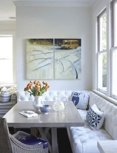 Lovely white breakfast nook with a touch of blue
