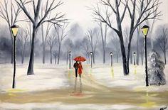 "Saatchi Art Artist Aisha Haider; Painting, ""Winter Park Walk"" #art"