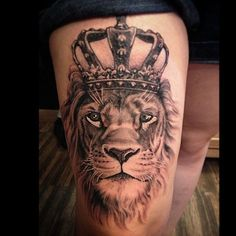 ... about tatz on Pinterest | Lion tattoo Crown tattoos and Chicano
