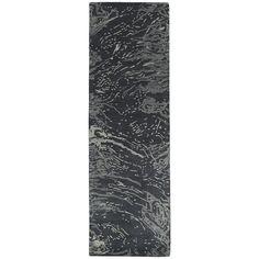 Brushstrokes Charcoal (Grey) 2 ft. 6 in. x 8 ft. Runner
