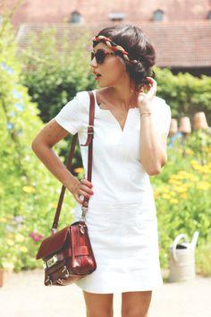white dress  head wrap