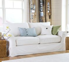 PB Comfort Roll Slipcovered Box-Edge Cushion Sofa #potterybarn  95 in and 68.5 in loveseat washed linen/cotton 1799 and 999