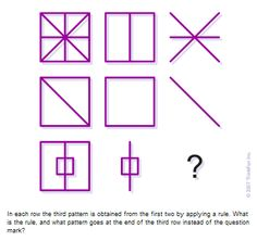 Brain Puzzle: The Rule by Martin Gardner It is known there is a rule connecting different patterns in each given row of their array. The challenge is to figure out what is the rule and then properly applying it complete the last row of them.